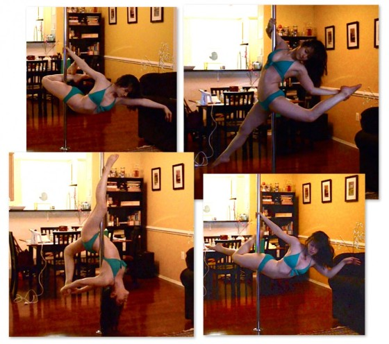 From top left clockwise: superman variation, elbow grip variation, closed inside leg hang (contortion scorpio), another superman variation