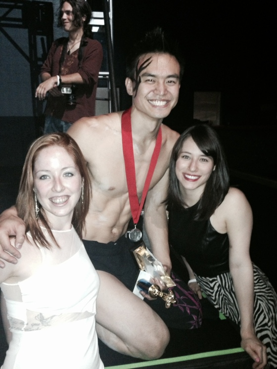 Andrea and me with Kenneth Kao, who placed 2nd in the Men's Division