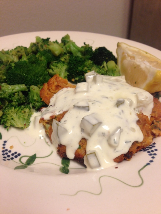 Sweet potato salmon cakes with homemade tartar sauce!