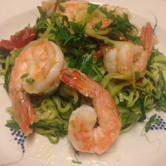 Shrimp scampi over zoodles (zucchini noodles)